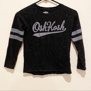 Osh Kosh Glitter Black Varsity Long Sleeve T-Shirt